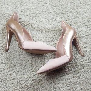 Zara Trafaluc Rose Gold Mixed Material Heels Sz 40